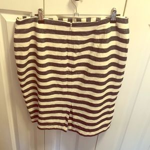 Cream and blue striped mini pencil skirt